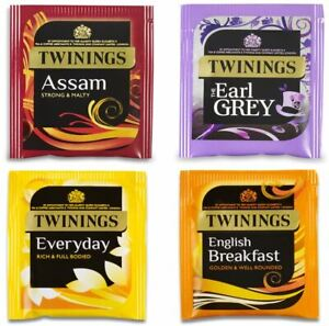 Twinings Everyday Earl Grey Assam Individual Tea Sachets Bags - Enveloped Tagged
