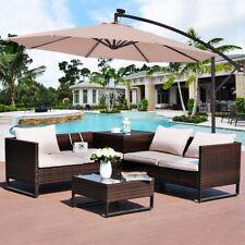 Costway 10' Hanging Solar LED Umbrella Patio Sun Shade Offset Market W/Base