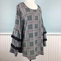 SIZE 1X Alfani Plaid Lace Trim Ruffle Sleeve Top Blouse Shirt Women's Plus NWT
