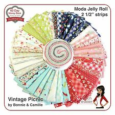 Moda Vintage Picnic Jelly Roll Modern Quilting Fabric retro floral gingham navy