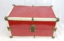 1950's Cass Toys Red & White Metal Doll Storage Trunk Case Wardrobe