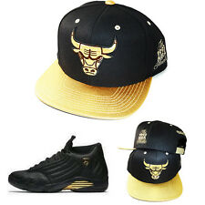 Mitchell & Ness Chicago Bulls Snapback Hat Air Jordan 14 DMP Metallic Gold Cap