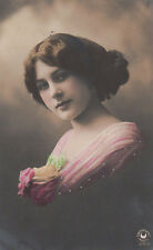 Edwardian Lady With A Flower Corsage Original Antique Photo Postcard
