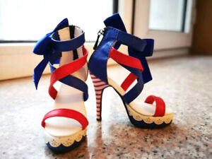 1/3SD16/13/GR/DD BJD Shoes Doll High Heels Sandals Stripe Heel Bow Deco Red/Blue