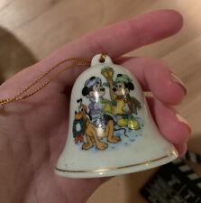 Vintage Disney Bell Christmas Ornament w/ Mickey Minnie & Pluto 1992