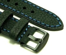 24mm Black Oily Cowhide Leather Replacement Watch Band Black Buckle - Luminox 24