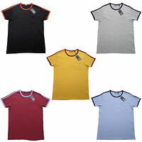 Relco Mens Ringer Style T Shirt 5 Colours 100% Cotton Retro Northern Soul Mod