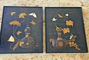 JAPANESE MIXED METAL PAIR WALL PLAQUES  STUNNING DETAIL  NO RESERVE!