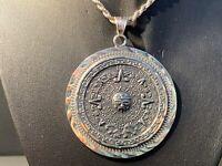 Vintage Sterling Silver Mexico Aztec Calendar HUGE Round Disc Pendant RARE!