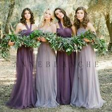 Purple Long Formal Bridesmaid Dress Wedding Party Prom