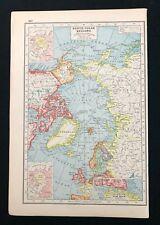 Vintage Colour Atlas Map 1920, NORTH POLAR REGIONS, Harmsworth's Atlas