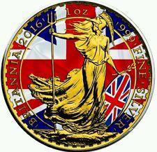 2016 UK Patriotic Flag Britannia 1oz Silver Coin - 24kt Gold
