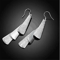 925 Sterling Silver Plated Fashion Jewelry Three Flake Drop Earrings Gift SE005