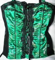 Tripp NYC Corset Asian Top Sz M Button On Straps Lace Zipper Back Black Green