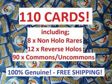 BULK LOT 110 POKEMON CARDS GENUINE INC RARES / REVERSE HOLOS - XY to SM 100!