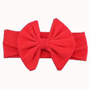 Baby Kid Girls Solid Cotton Big Bow Flower Elastic Turban Headband Hair Band