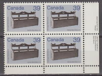 "CANADA #928 39¢ Artifacts ""Settle Bed"" LR Inscription Block MNH"