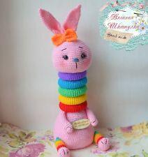 Crochet rabbit Stuffed farm animal Knitted toy Amigurumi pyramid plush bunny