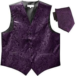 New Polyester Men's Tuxedo Vest Waistcoat & tie Paisley dark purple formal