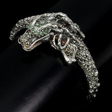 Unheated Round Emerald Ruby Marcasite 925 Sterling Silver Dragon Bangle
