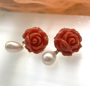 Natural Carved Italian Coral And Pearl Rose Flower Earrings 10kt Yellow Gold
