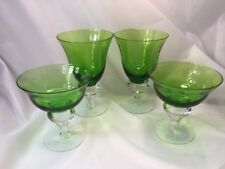 Steuben Baluster Emerald Green Hand Blown Crystal Water Wine Goblets
