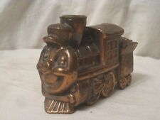 vintage cast metal train steam engine face coin bank railroad 572  *no stopper