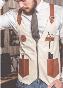 Barber Jeans vest,Barber jacket,barber stylist vest,Professional Leather Vest,