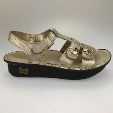 New Womens 6-6.5 36 Alegria Kleo Gold Leather Strap Slingback Sandals KLE-293