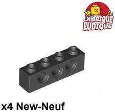 Lego Technic - 4x Brique Brick 1x4 hole noir/black 3701 NEUF