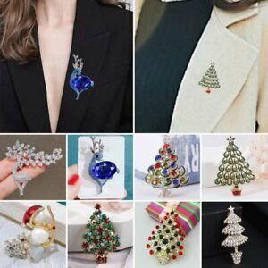 2021 Christmas Tree Elk Crystal Star Brooch Pin Women Charm Jewellery Xmas Gift