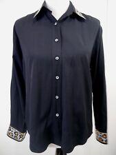 Christine Alexander Womens Top LS Black Bling Gems Button Up Shirt Sz S Small