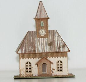 altes Haus Kirche mit Turm in Pappe Bauweise  Erzgebirge Spur S H0 Handbemalt