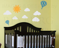 Sky Cloud Sun Hot Air Balloon Kid Baby Nursery Playroom Wall Decal Vinyl Art G65