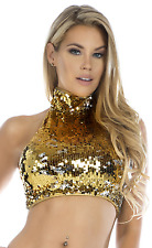 NWT Gold Silver Sequin Shine Two-Way Sequin Crop Top by Forplay