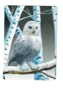 Single Snow Owl in Birch Trees - Linen Modern Wide Swap Playing Card