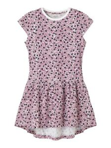 NAME IT kurzarm Kleid NKFVigga rosa blau weiß geblümt Größe 116 bis 164