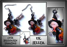 Pumpkin Witch & Cat Earrings Hook Drop Danglies Pierced Halloween Christmas UK