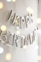 Silver Happy Birthday Bunting Banner Foil Balloon Set + FREE Straw and Ribbon 5m