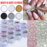 Holographic Nail Glitter Powder Colorful  Nail Pigment Shining Nail Art Design