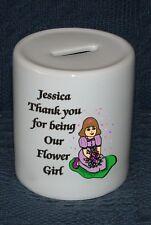 PERSONALISED FLOWER GIRL BRIDESMAID WEDDING MONEY BOX