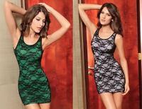 Sexy Black/Green Black/White Lace Mesh Stretch Mini Dress Club/Party Size 8/10
