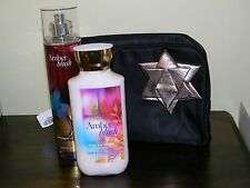 Bath and Body Works Set (2 Full Size) Amber Blush and Satin Bag w/Silver Bow