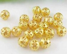 200Pcs Gold Plated (Lead-Free)Round Filigree Spacer Beads 6mm