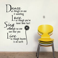 Wall stickers Dance as no one watch Quote Removable Art Vinyl Decor Home A decal