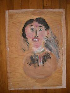 JIM SUDDUTH FOLK ART PAINTING WOMAN PORTRAIT VINTAGE