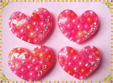 10pcs Resin Pink Clear hearts with pearls cabochon 31x25mm
