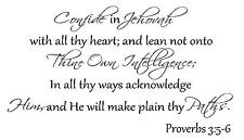 Confide in Jehovah with all thy heart Vinyl Wall Decal Stickers Decor Letters