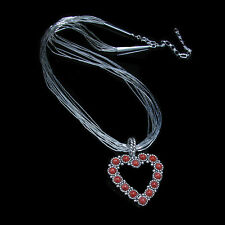 10 Strand .925 Liquid Sterling Silver Genuine Red Orange Coral Heart Necklace