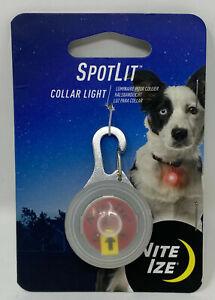 (CC) NITE IZE SPOTLIT LED COLLAR LIGHT RED CARABINER PET LOCATOR LIGHT FLASHES .